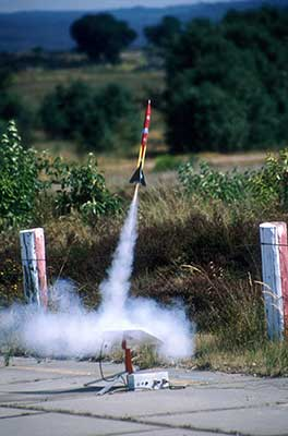 A model rocket launch